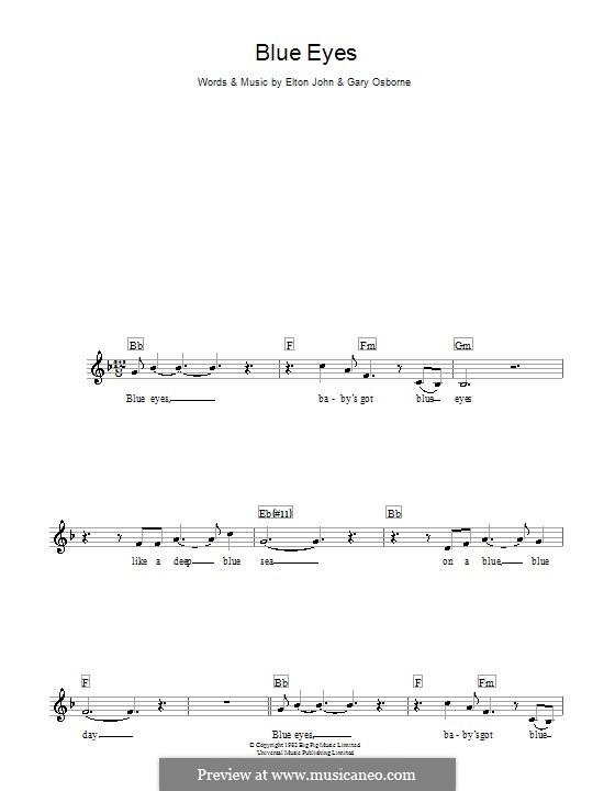 Blue Eyes: Melody line, lyrics and chords by Elton John, Gary Osborne