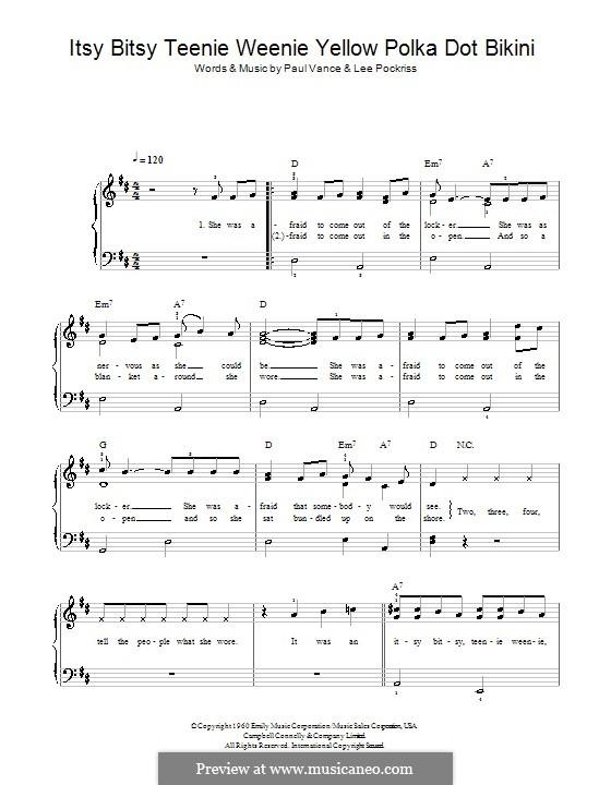 Itsy Bitsy Teenie Weenie Yellow Polka Dot Bikini: For easy piano by Lee Pockriss, Paul J. Vance