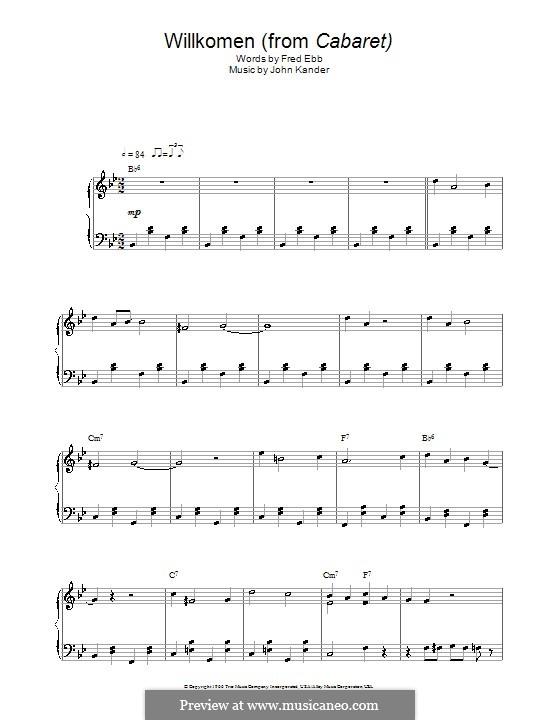 Willkommen (from Cabaret): For piano by John Kander