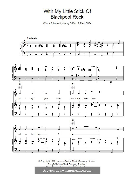 With My Little Stick of Blackpool Rock: For voice and piano (or guitar) by Frederick Cliffe, Harry Gifford