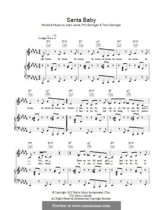 Santa Baby (Eartha Kitt): For voice and piano by Joan Javits, Philip Springer, Tony Springer