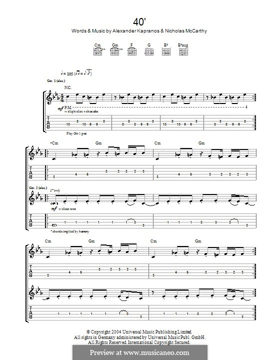 40' (Franz Ferdinand): For guitar with tab by Alexander Kapranos, Nicholas McCarthy