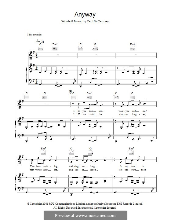 Anyway: For voice and piano (or guitar) by Paul McCartney