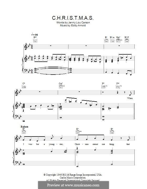 C-H-R-I-S-T-M-A-S (Perry Como): For voice and piano (or guitar) by Eddy Arnold