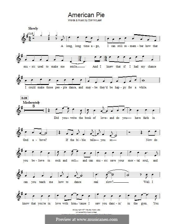 American Pie (Madonna): For recorder by Don McLean