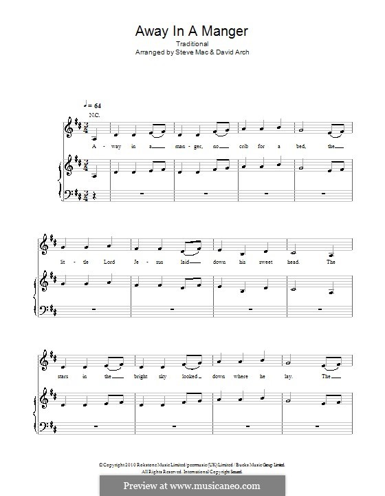 Away in a Manger: For voice and piano (or guitar) by folklore