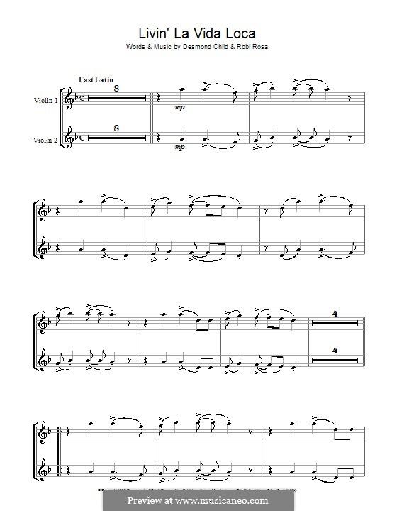 Livin' la vida loca (Ricky Martin): For violin by Desmond Child, Robi Rosa