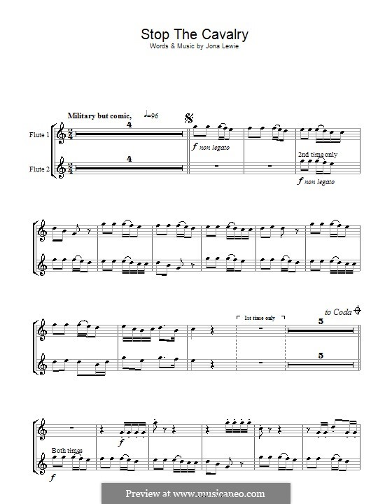 Stop the Cavalry: For two flutes by Jona Lewie