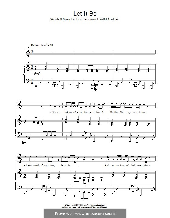 Let it Be (The Beatles): For voice and piano or guitar (C Major) by John Lennon, Paul McCartney