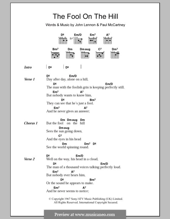 The Fool on the Hill (The Beatles): Lyrics and chords by John Lennon, Paul McCartney