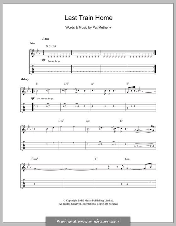 Last Train Home: For guitar with tab by Pat Metheny