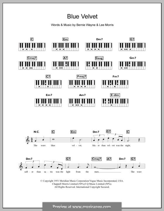 Blue Velvet: For keyboard by Bernie Wayne, Lee Morris