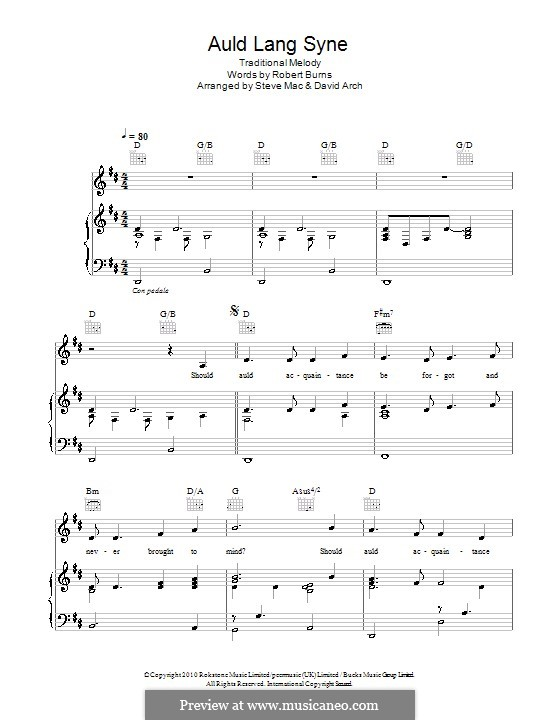 Auld Lang Syne: For voice and piano (or guitar) by folklore
