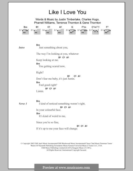 Like I Love You: Lyrics and chords by Charles Edward Hugo, Justin Timberlake, Pharrell Williams