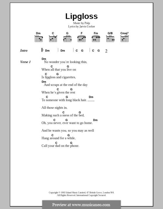 Lipgloss: Lyrics and chords by Pulp
