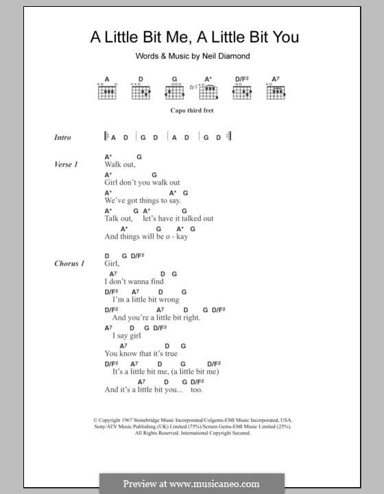 A Little Bit Me, a Little Bit You: Lyrics and chords by Neil Diamond
