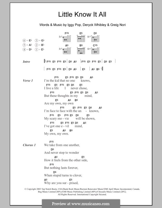 Little Know It All (Sum 41): Lyrics and chords by Deryck Whibley, Greig Andrew Nori, Iggy Pop