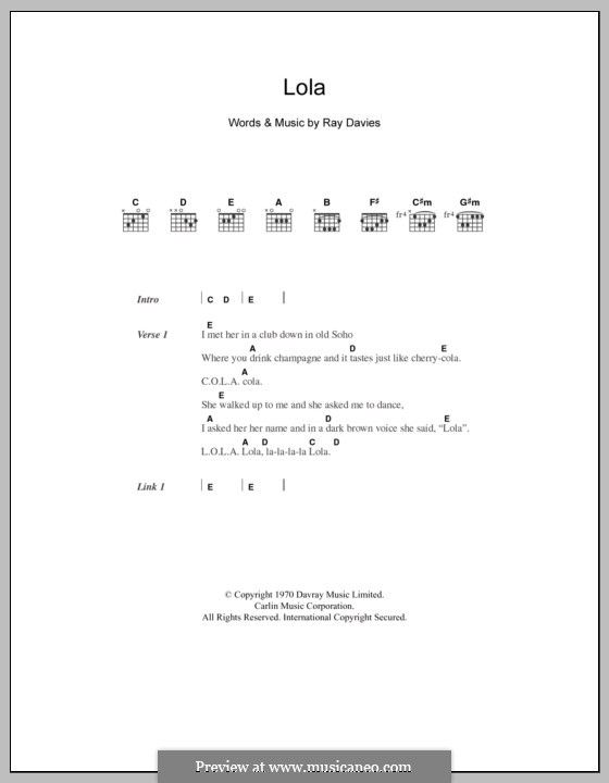 Lola (The Kinks) by R. Davies - sheet music on MusicaNeo
