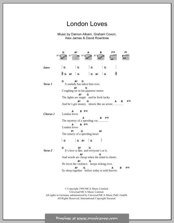 London Loves (Blur): Lyrics and chords by Alex James, Damon Albarn, David Rowntree, Graham Coxon