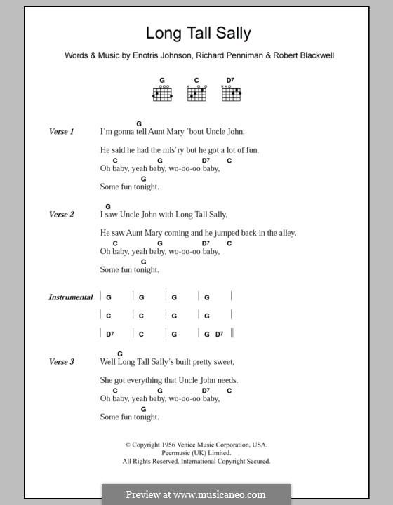 Long Tall Sally: Lyrics and chords by Little Richard, Enotris Johnson, Robert A. Blackwell