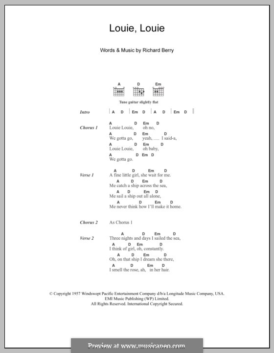 Louie, Louie (The Kingsmen): Lyrics and chords by Richard Berry