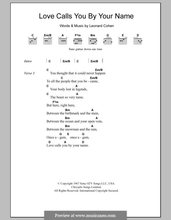Love Calls You By Your Name: Lyrics and chords by Leonard Cohen