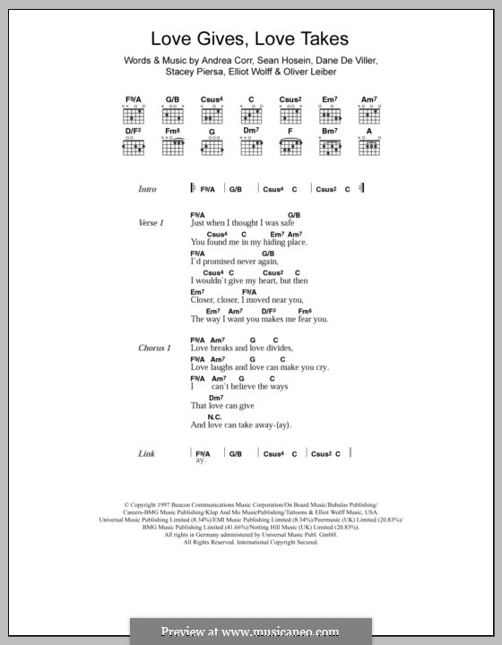 Love Gives Love Takes (The Corrs): Lyrics and chords by Andrea Corr, Dane De Viller, Elliot Wolff, Oliver Leiber, Sean Hosein, Stacey Piersa