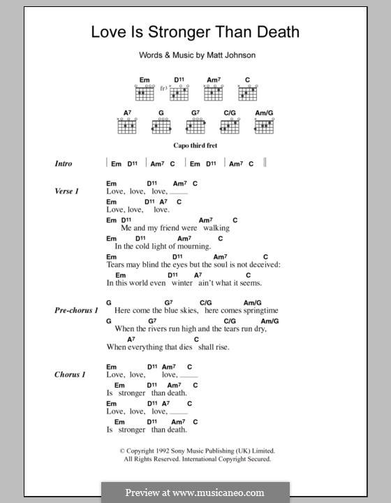 Love Is Stronger Than Death (The The): Lyrics and chords by Matthew Johnson