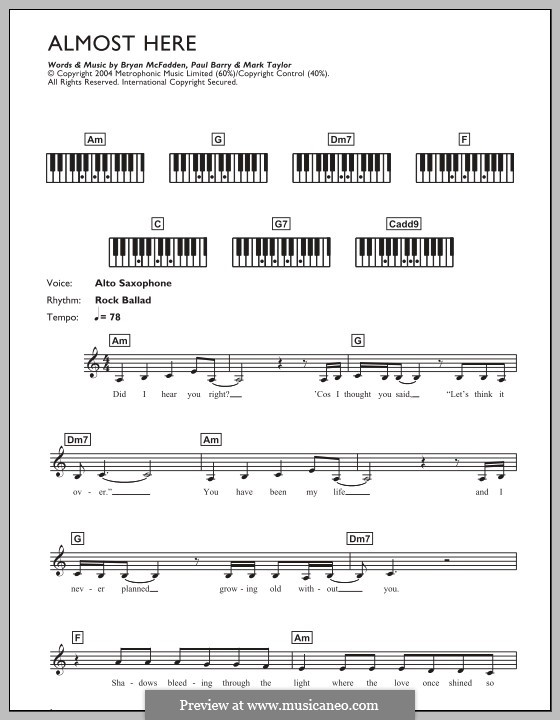 Almost Here (Delta Goodrem & Brian McFadden): For keyboard by Mark Taylor, Paul Barry