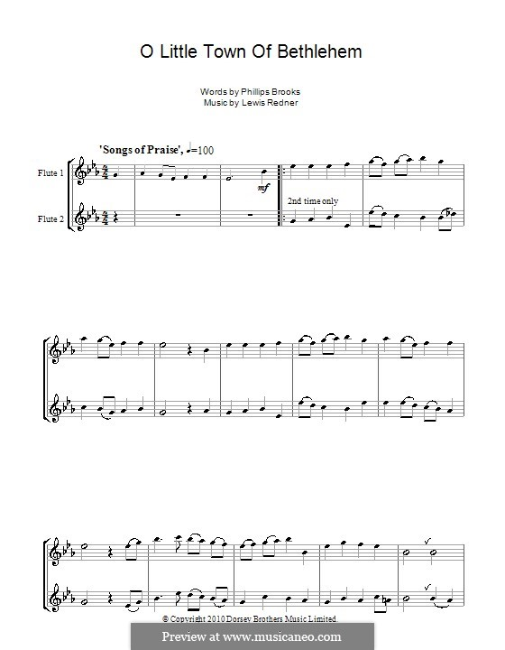 O Little Town of Bethlehem: For two flutes by Lewis Henry Redner