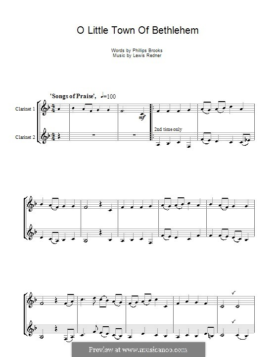 O Little Town of Bethlehem: For two clarinets by Lewis Henry Redner