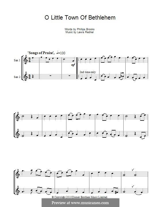 O Little Town of Bethlehem: For tenor saxophone by Lewis Henry Redner