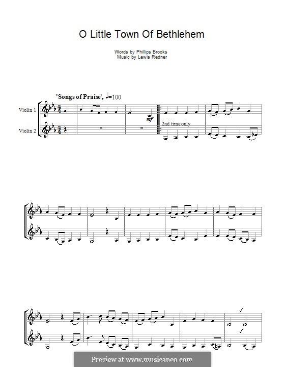O Little Town of Bethlehem: For two violins by Lewis Henry Redner