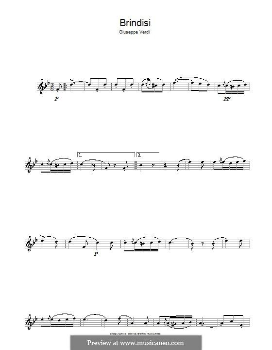 Libiamo ne'lieti calici (Brindisi): For flute by Giuseppe Verdi