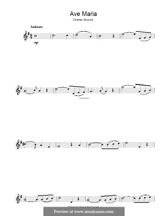 Ave Maria (Printable Sheet Music): For alto saxophone by Johann Sebastian Bach, Charles Gounod