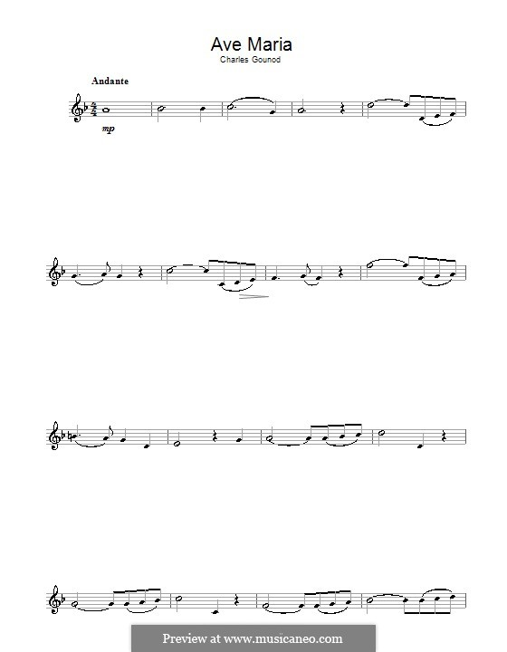 Ave Maria (Printable Sheet Music): For flute by Johann Sebastian Bach, Charles Gounod