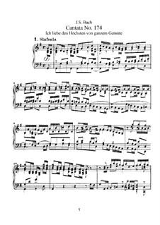 Ich liebe den Höchsten von ganzem Gemüte, BWV 174: Piano-vocal score by Johann Sebastian Bach