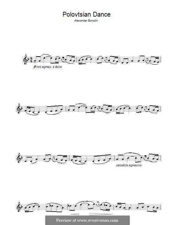 Polovtsian Dances: For clarinet by Alexander Borodin