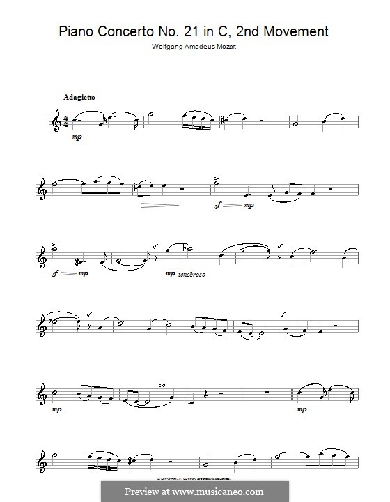 Concerto for Piano and Orchestra No.21 in C Major, K.467: Movement II (Fragment). Version for saxophone by Wolfgang Amadeus Mozart