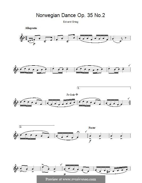Four Norwegian Dances, Op.35: Dance No.2, for clarinet by Edvard Grieg
