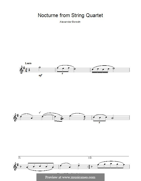 String Quartet No.2 in D Major: Movement III (Theme). Version for alto saxophone by Alexander Borodin