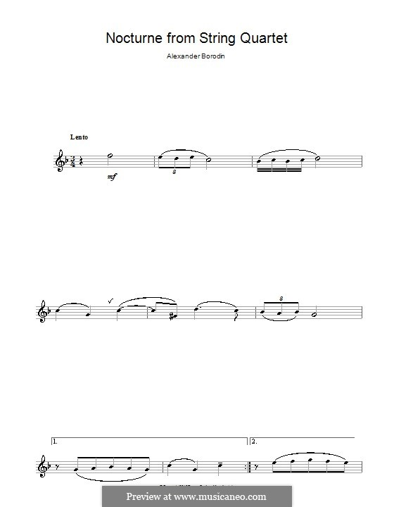 String Quartet No.2 in D Major: Movement III (Theme). Version for flute by Alexander Borodin