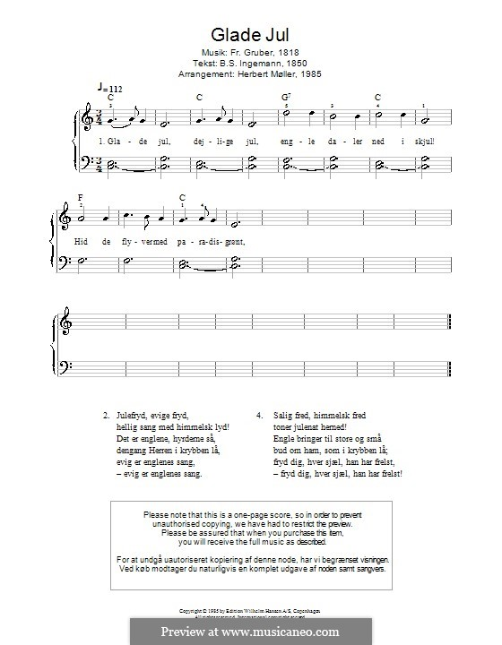 Glade Jul: Piano (Franz Gruber) by Franz Xaver Gruber
