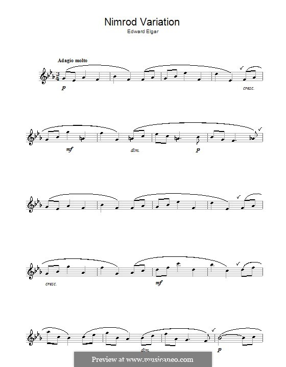 Variation No.9 'Nimrod': For alto saxophone by Edward Elgar