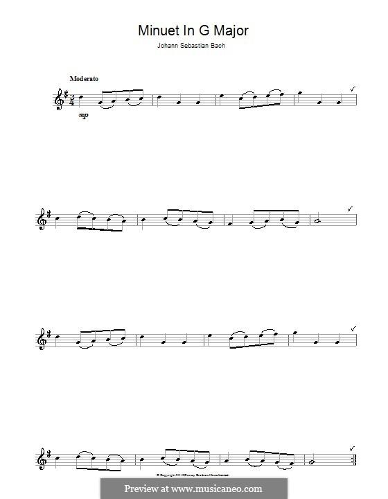 No.4 Minuet in G Major, BWV Anh.114: For flute by Johann Sebastian Bach