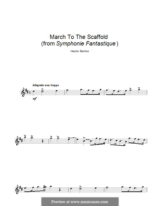 Symphonie fantastique (Fantastic Symphony), H.48 Op.14: March to the Scaffold, for alto saxophone by Hector Berlioz