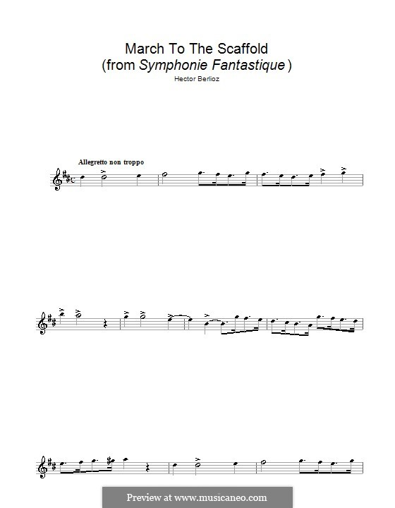 Symphonie fantastique (Fantastic Symphony), H.48 Op.14: March to the Scaffold, for flute by Hector Berlioz