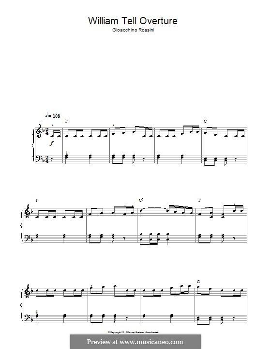 Overture: Allegro vivace, for easy piano by Gioacchino Rossini