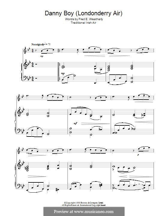 Danny Boy (Printable Scores): For flute by folklore