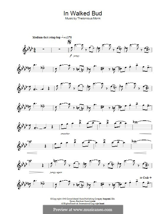 In Walked Bud: For flute by Thelonious Monk